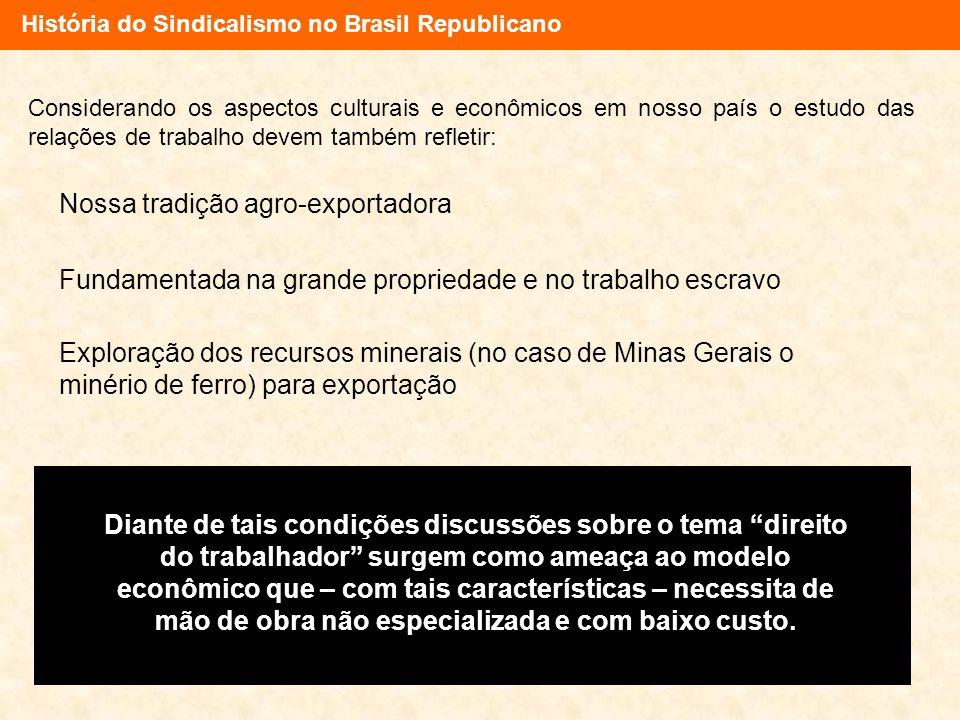 História do Sindicalismo no Brasil Republicano Considerando os aspectos culturais e econômicos em nosso país o estudo das relações de trabalho devem t