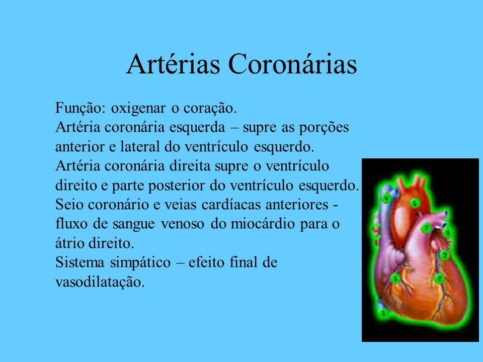 Artérias Coronárias Função: oxigenar o coração. Artéria coronária esquerda – supre as porções anterior e lateral do ventrículo esquerdo. Artéria coron