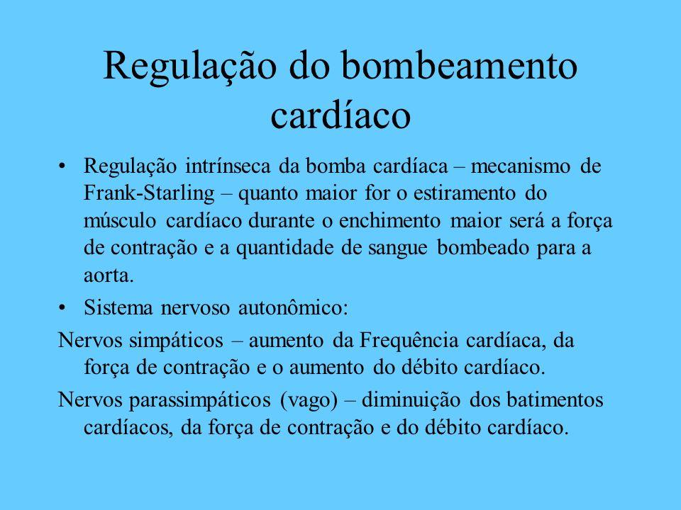 Regulação do bombeamento cardíaco Regulação intrínseca da bomba cardíaca – mecanismo de Frank-Starling – quanto maior for o estiramento do músculo car
