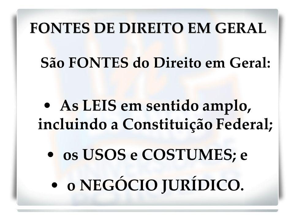 FONTES DE DIREITO EM GERAL São FONTES do Direito em Geral: As LEIS em sentido amplo, incluindo a Constituição Federal; os USOS e COSTUMES; e o NEGÓCIO JURÍDICO.