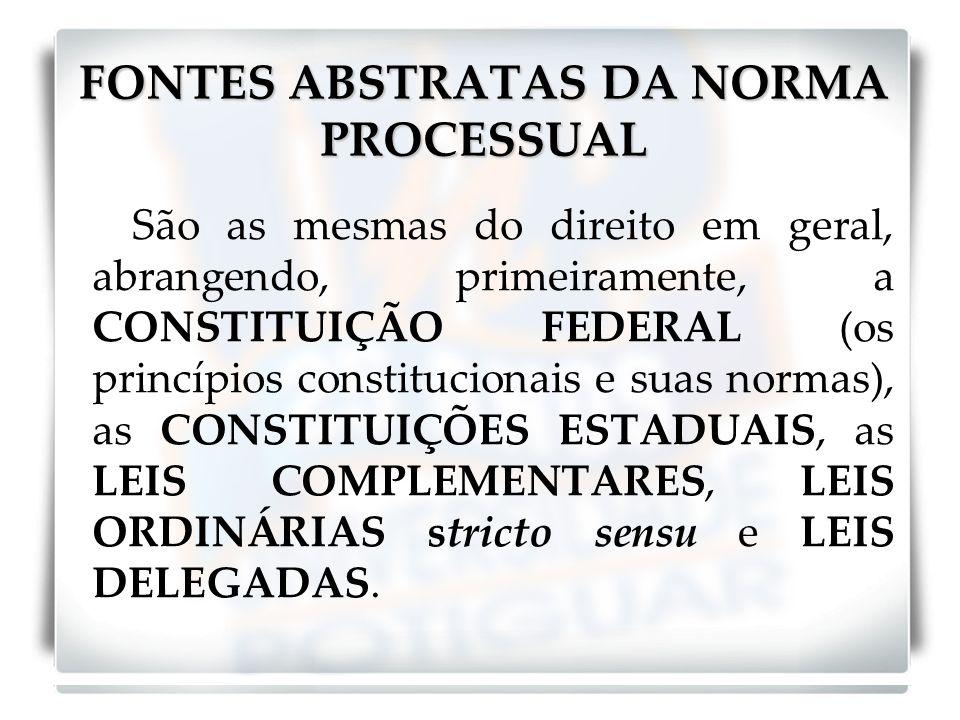 FONTES ABSTRATAS DA NORMA PROCESSUAL São as mesmas do direito em geral, abrangendo, primeiramente, a CONSTITUIÇÃO FEDERAL (os princípios constitucionais e suas normas), as CONSTITUIÇÕES ESTADUAIS, as LEIS COMPLEMENTARES, LEIS ORDINÁRIAS stricto sensu e LEIS DELEGADAS.