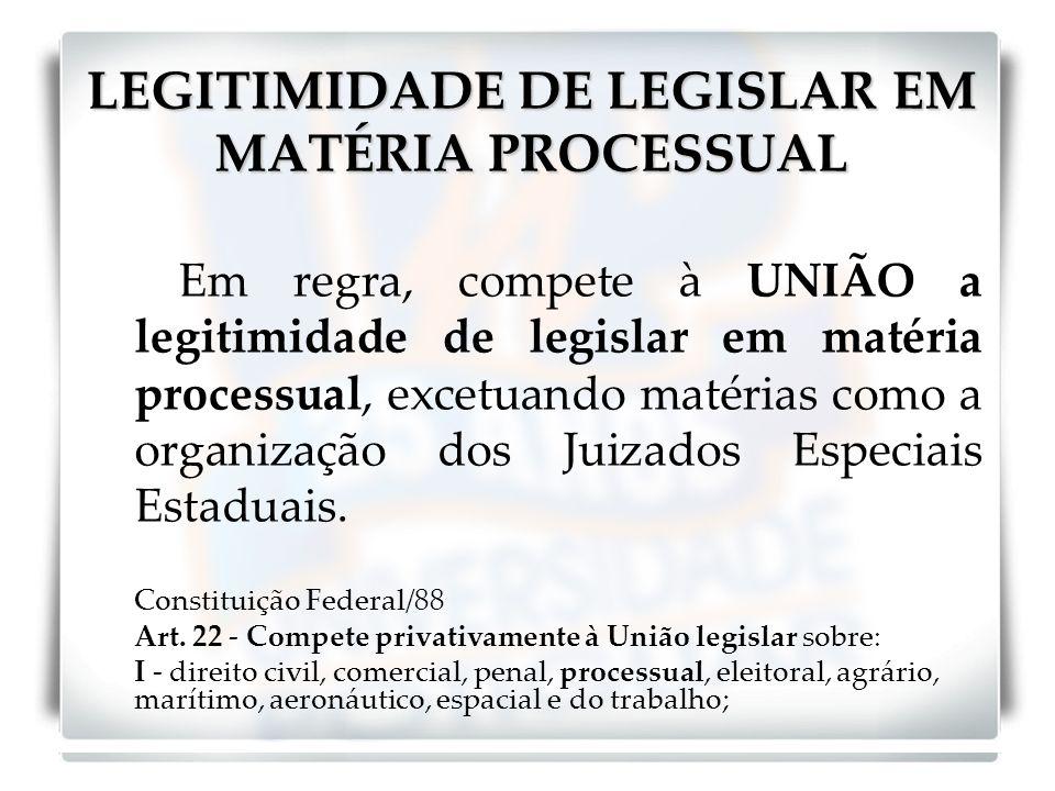 LEGITIMIDADE DE LEGISLAR EM MATÉRIA PROCESSUAL Em regra, compete à UNIÃO a legitimidade de legislar em matéria processual, excetuando matérias como a organização dos Juizados Especiais Estaduais.
