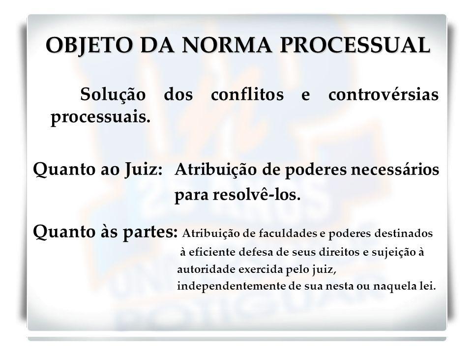 OBJETO DA NORMA PROCESSUAL Solução dos conflitos e controvérsias processuais.