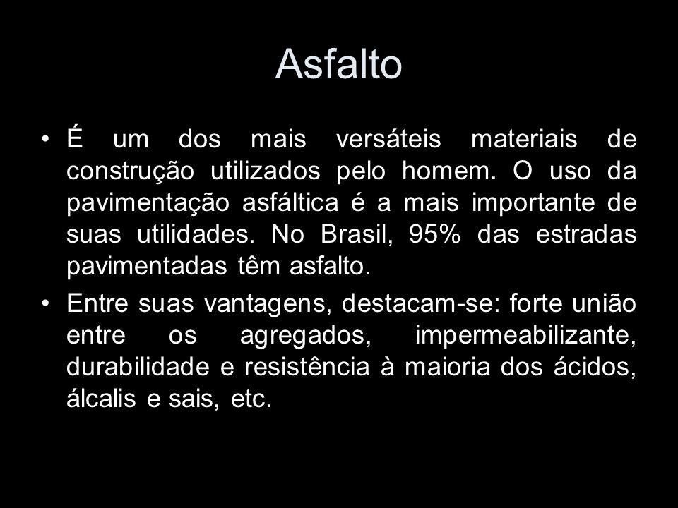 Asfalto É um dos mais versáteis materiais de construção utilizados pelo homem. O uso da pavimentação asfáltica é a mais importante de suas utilidades.