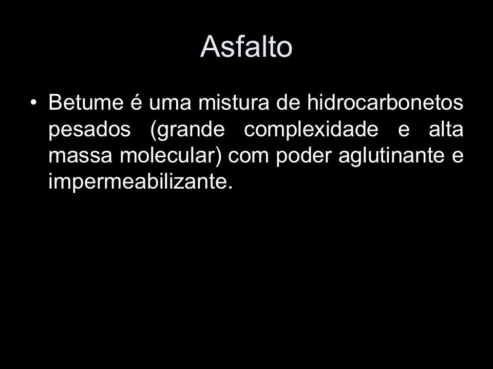 Asfalto Betume é uma mistura de hidrocarbonetos pesados (grande complexidade e alta massa molecular) com poder aglutinante e impermeabilizante.