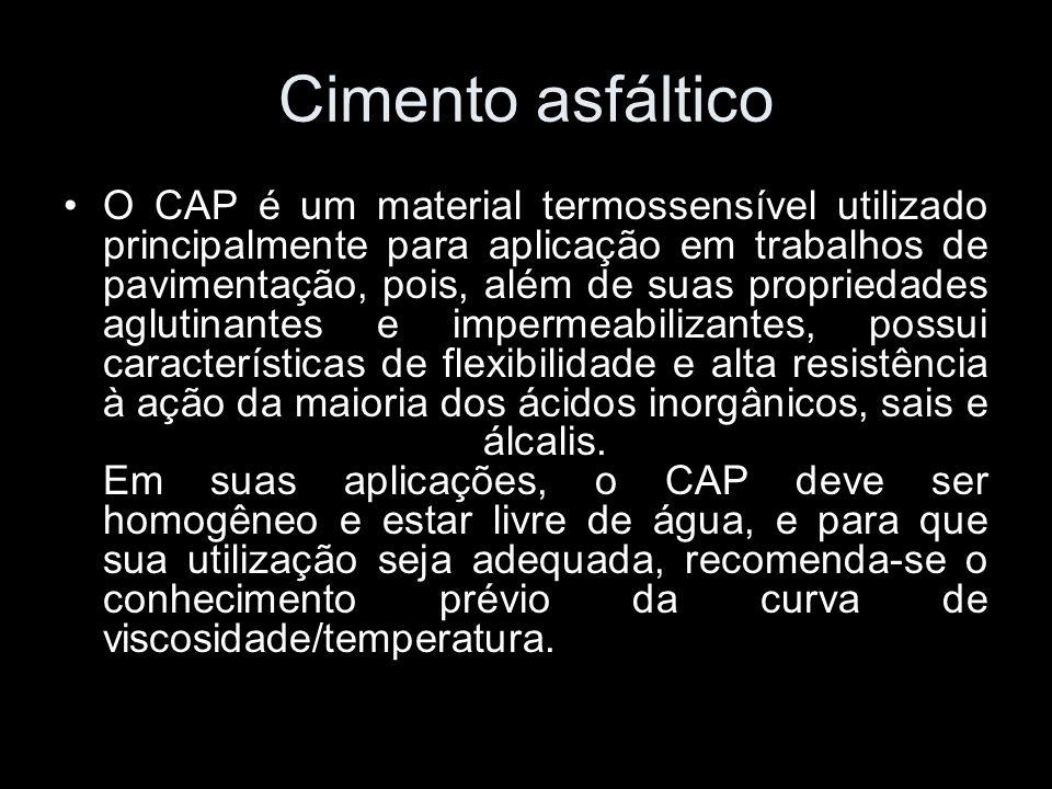 Cimento asfáltico O CAP é um material termossensível utilizado principalmente para aplicação em trabalhos de pavimentação, pois, além de suas propried