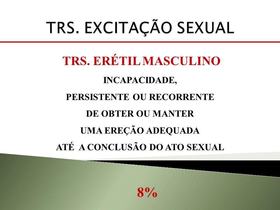 TRS. ERÉTIL MASCULINO INCAPACIDADE, PERSISTENTE OU RECORRENTE DE OBTER OU MANTER UMA EREÇÃO ADEQUADA ATÉ A CONCLUSÃO DO ATO SEXUAL 8%
