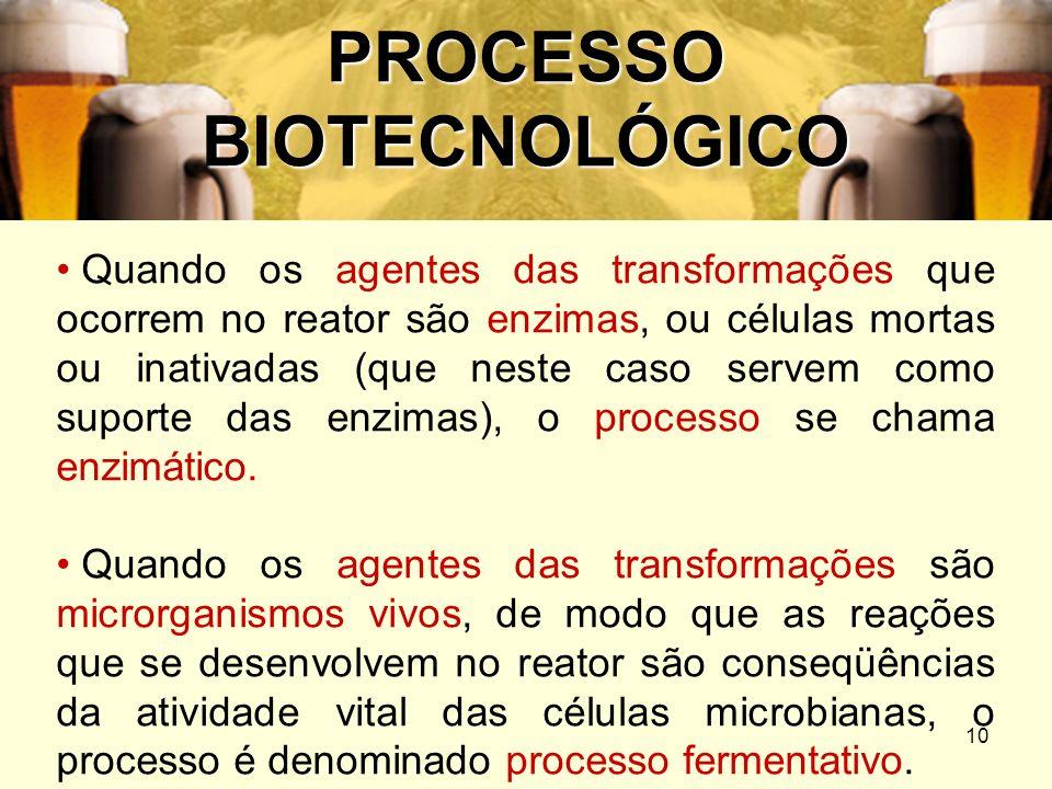 10 PROCESSO BIOTECNOLÓGICO Quando os agentes das transformações que ocorrem no reator são enzimas, ou células mortas ou inativadas (que neste caso ser
