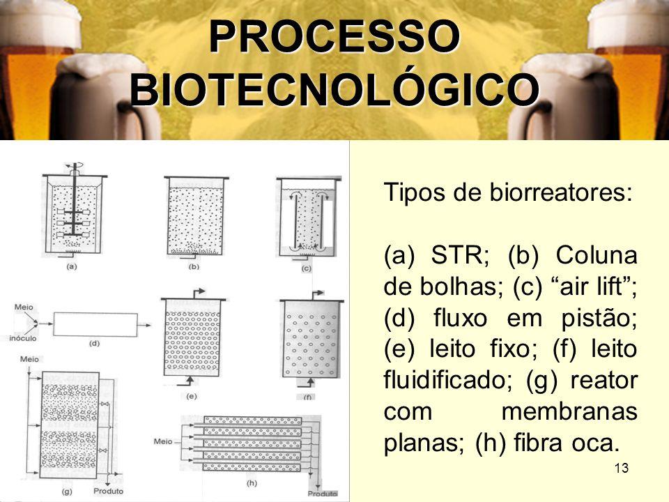 13 PROCESSO BIOTECNOLÓGICO Tipos de biorreatores: (a) STR; (b) Coluna de bolhas; (c) air lift; (d) fluxo em pistão; (e) leito fixo; (f) leito fluidifi