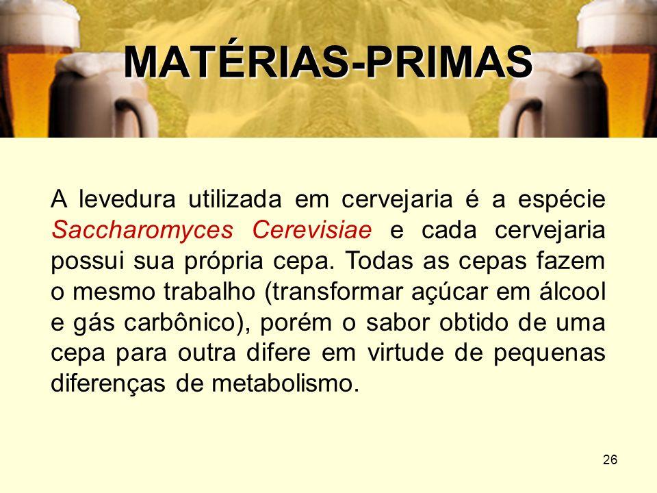 26 MATÉRIAS-PRIMAS A levedura utilizada em cervejaria é a espécie Saccharomyces Cerevisiae e cada cervejaria possui sua própria cepa. Todas as cepas f