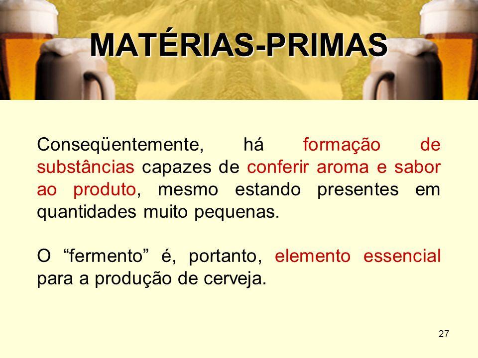 27 MATÉRIAS-PRIMAS Conseqüentemente, há formação de substâncias capazes de conferir aroma e sabor ao produto, mesmo estando presentes em quantidades m