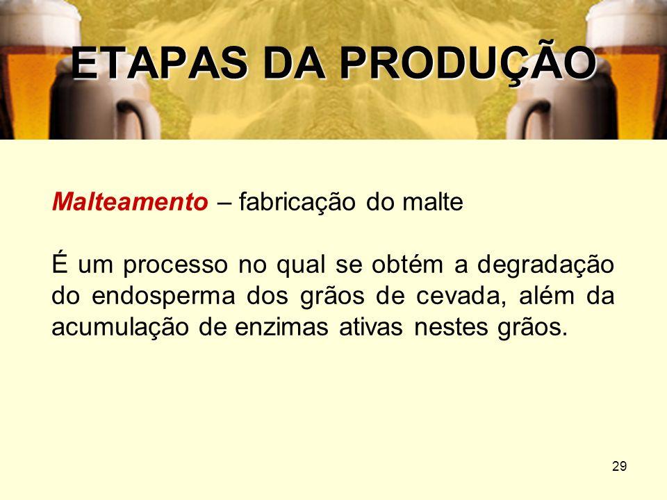 29 ETAPAS DA PRODUÇÃO Malteamento – fabricação do malte É um processo no qual se obtém a degradação do endosperma dos grãos de cevada, além da acumula