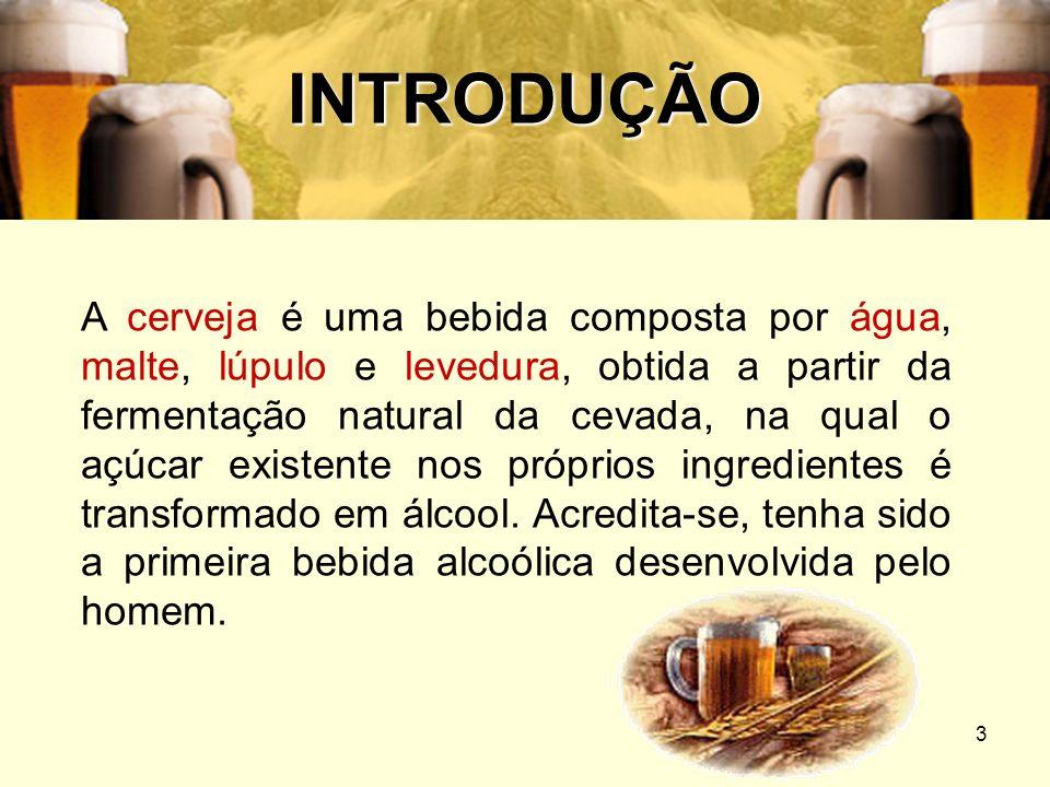 3 INTRODUÇÃO A cerveja é uma bebida composta por água, malte, lúpulo e levedura, obtida a partir da fermentação natural da cevada, na qual o açúcar ex