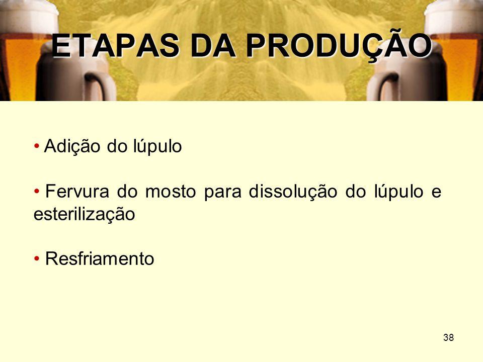 38 ETAPAS DA PRODUÇÃO Adição do lúpulo Fervura do mosto para dissolução do lúpulo e esterilização Resfriamento