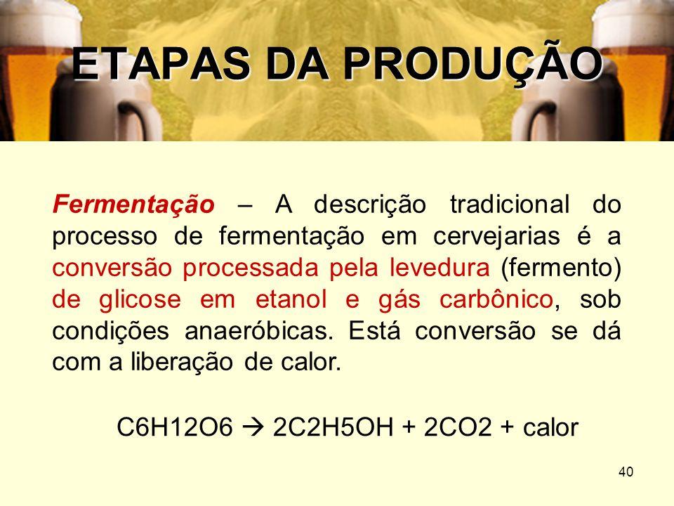 40 ETAPAS DA PRODUÇÃO Fermentação – A descrição tradicional do processo de fermentação em cervejarias é a conversão processada pela levedura (fermento