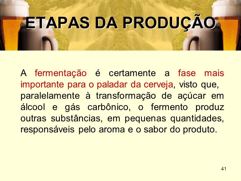 41 ETAPAS DA PRODUÇÃO A fermentação é certamente a fase mais importante para o paladar da cerveja, visto que, paralelamente à transformação de açúcar
