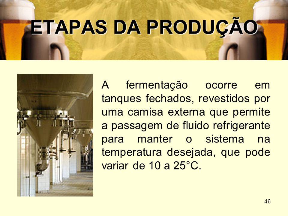 46 ETAPAS DA PRODUÇÃO A fermentação ocorre em tanques fechados, revestidos por uma camisa externa que permite a passagem de fluido refrigerante para m