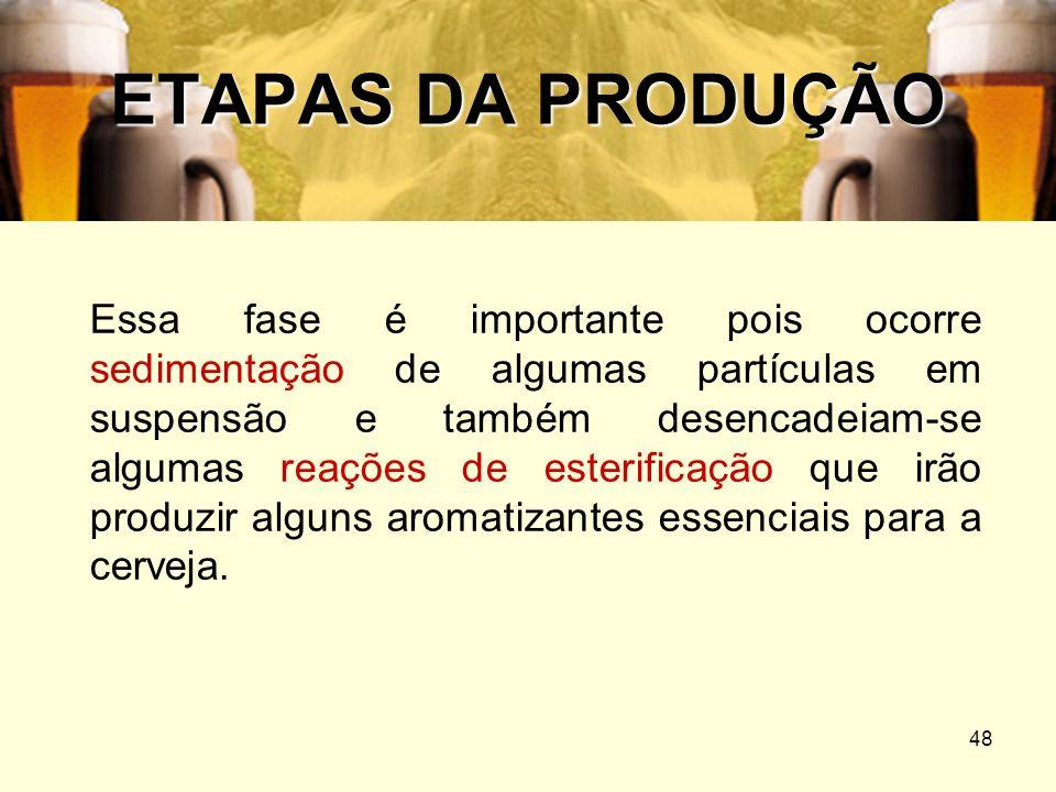 48 ETAPAS DA PRODUÇÃO Essa fase é importante pois ocorre sedimentação de algumas partículas em suspensão e também desencadeiam-se algumas reações de e