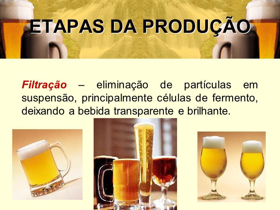 49 ETAPAS DA PRODUÇÃO Filtração – eliminação de partículas em suspensão, principalmente células de fermento, deixando a bebida transparente e brilhant