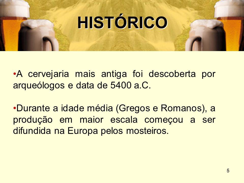 5 HISTÓRICO A cervejaria mais antiga foi descoberta por arqueólogos e data de 5400 a.C. Durante a idade média (Gregos e Romanos), a produção em maior