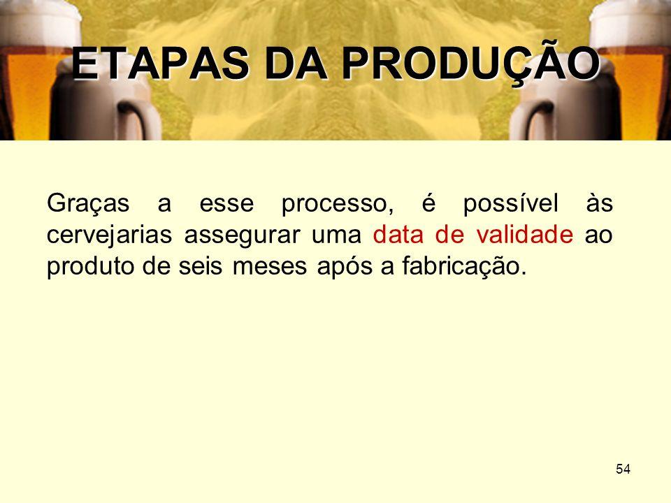 54 ETAPAS DA PRODUÇÃO Graças a esse processo, é possível às cervejarias assegurar uma data de validade ao produto de seis meses após a fabricação.