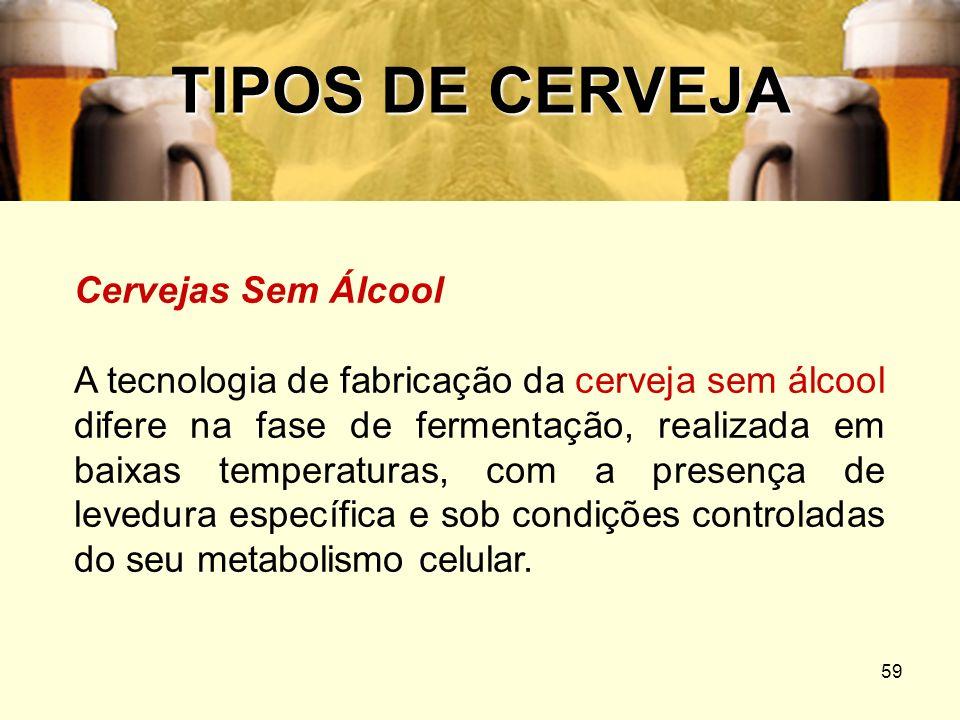 59 TIPOS DE CERVEJA Cervejas Sem Álcool A tecnologia de fabricação da cerveja sem álcool difere na fase de fermentação, realizada em baixas temperatur