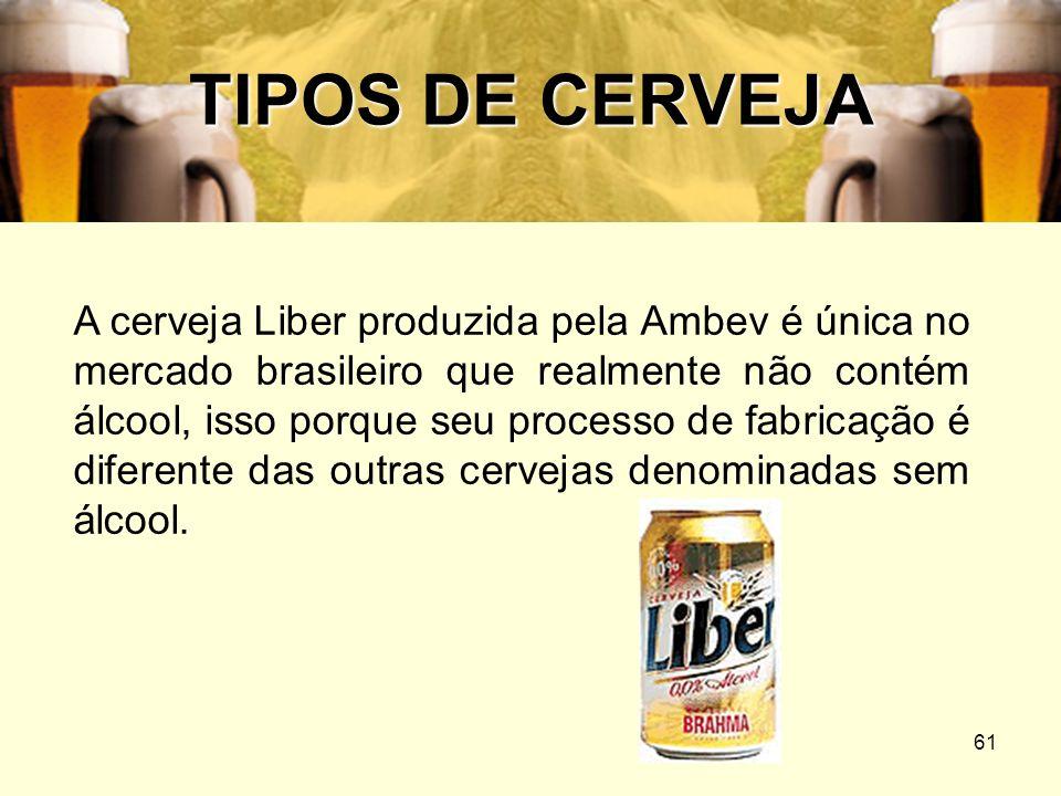 61 TIPOS DE CERVEJA A cerveja Liber produzida pela Ambev é única no mercado brasileiro que realmente não contém álcool, isso porque seu processo de fa