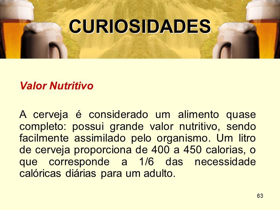 63 CURIOSIDADES Valor Nutritivo A cerveja é considerado um alimento quase completo: possui grande valor nutritivo, sendo facilmente assimilado pelo or