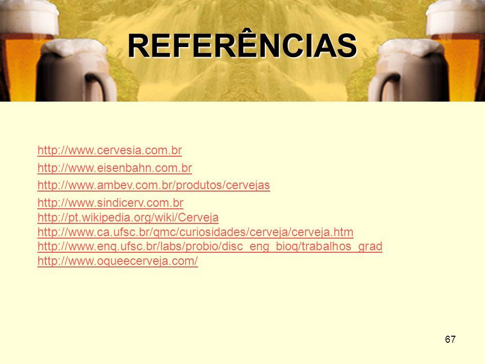 67 REFERÊNCIAS http://www.cervesia.com.br http://www.eisenbahn.com.br http://www.ambev.com.br/produtos/cervejas http://www.sindicerv.com.br http://pt.