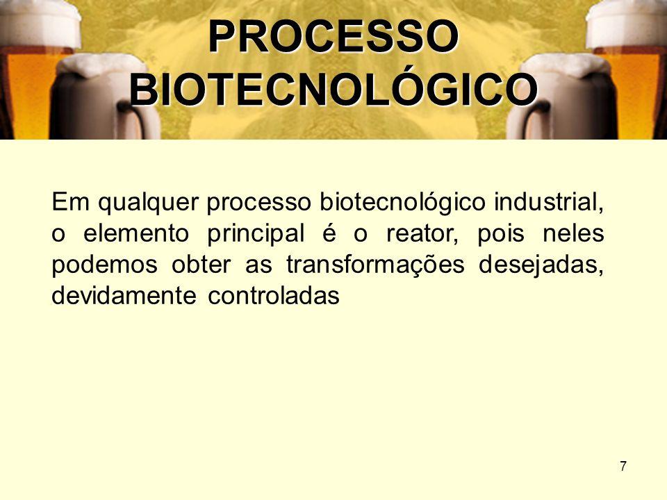 7 PROCESSO BIOTECNOLÓGICO Em qualquer processo biotecnológico industrial, o elemento principal é o reator, pois neles podemos obter as transformações