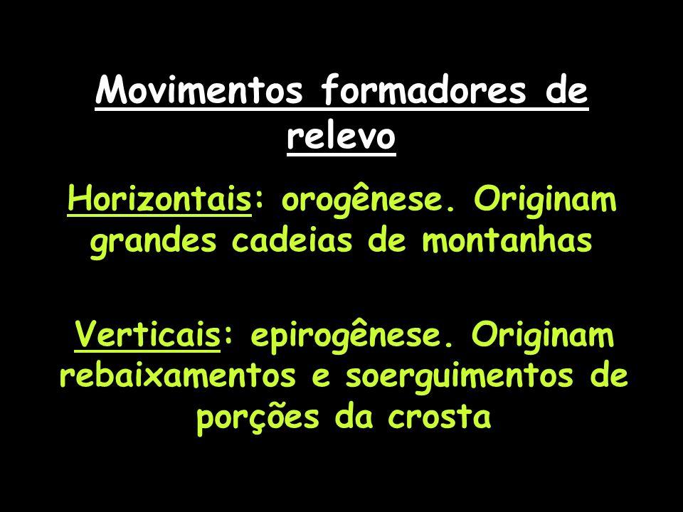 Movimentos formadores de relevo Horizontais: orogênese. Originam grandes cadeias de montanhas Verticais: epirogênese. Originam rebaixamentos e soergui