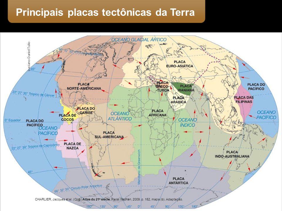 Principais placas tectônicas da Terra CHARLIER, Jacques et al. (Org.) Atlas du 21 e siècle. Paris: Nathan, 2009. p. 152, mapa (b). Adaptação. Luciano