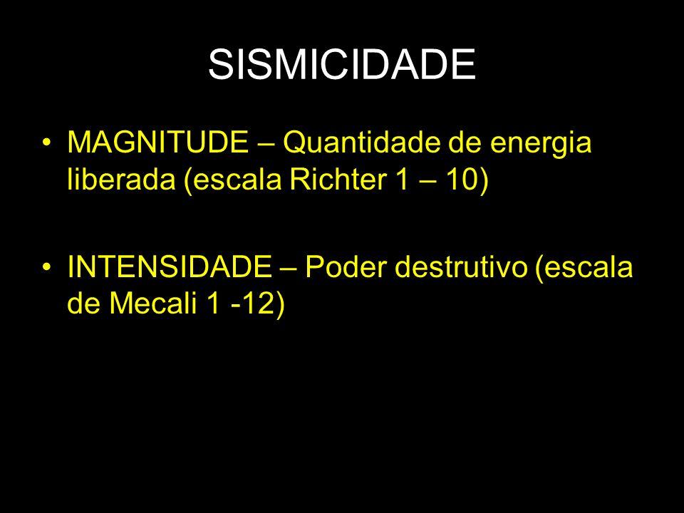 SISMICIDADE MAGNITUDE – Quantidade de energia liberada (escala Richter 1 – 10) INTENSIDADE – Poder destrutivo (escala de Mecali 1 -12)