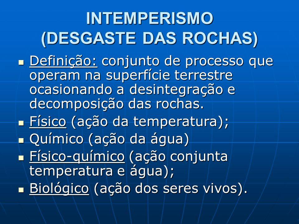 INTEMPERISMO (DESGASTE DAS ROCHAS) Definição: conjunto de processo que operam na superfície terrestre ocasionando a desintegração e decomposição das r