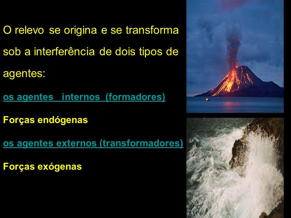 O relevo se origina e se transforma sob a interferência de dois tipos de agentes: os agentes internos (formadores) Forças endógenas os agentes externo