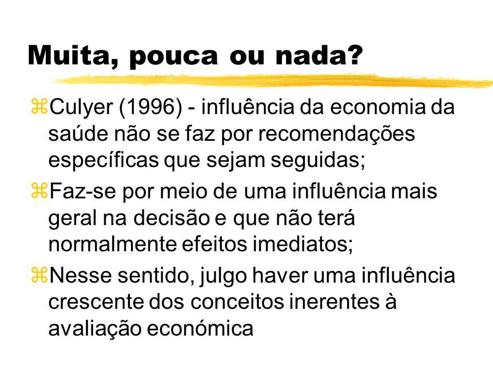 Muita, pouca ou nada? zCulyer (1996) - influência da economia da saúde não se faz por recomendações específicas que sejam seguidas; zFaz-se por meio d