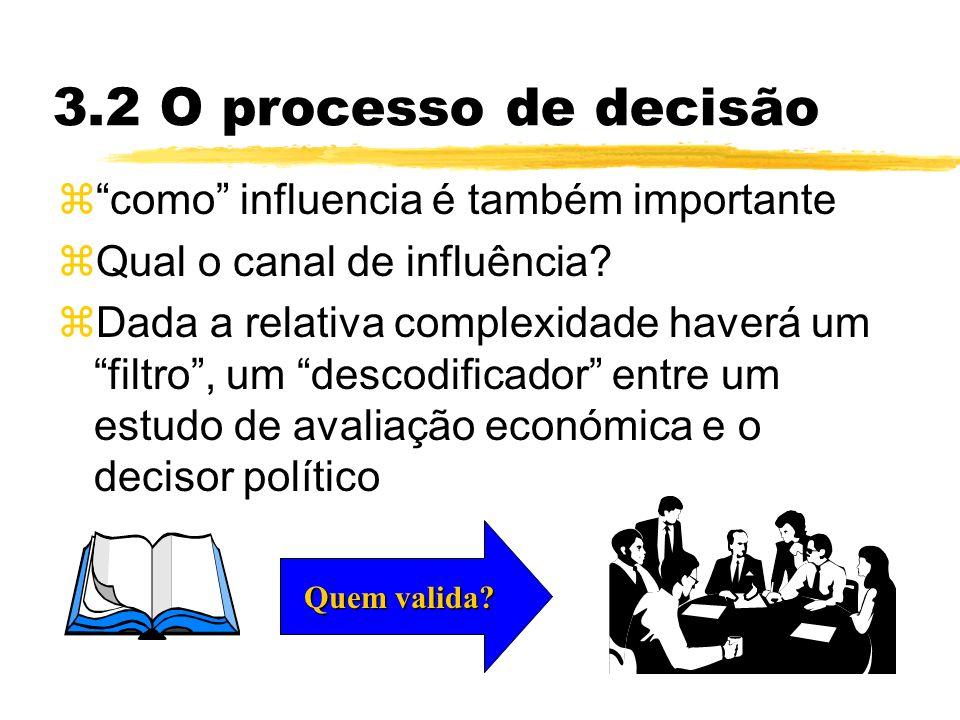 3.2 O processo de decisão zcomo influencia é também importante zQual o canal de influência.