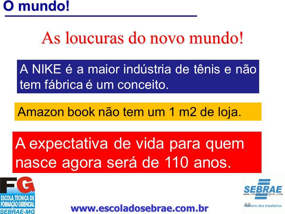 www.escoladosebrae.com.br 10 O mundo! As loucuras do novo mundo! A NIKE é a maior indústria de tênis e não tem fábrica é um conceito. Amazon book não