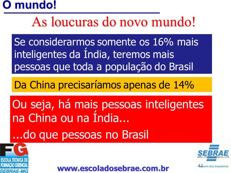 www.escoladosebrae.com.br 12 O mundo! As loucuras do novo mundo! Se considerarmos somente os 16% mais inteligentes da Índia, teremos mais pessoas que
