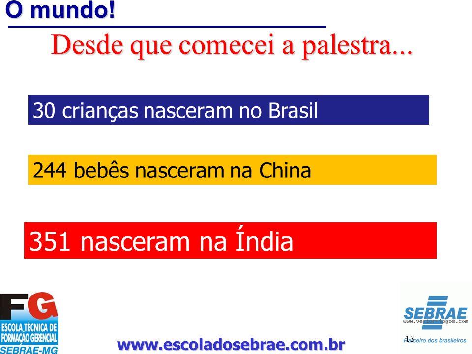 www.escoladosebrae.com.br 13 O mundo! Desde que comecei a palestra... 30 crianças nasceram no Brasil 244 bebês nasceram na China 351 nasceram na Índia