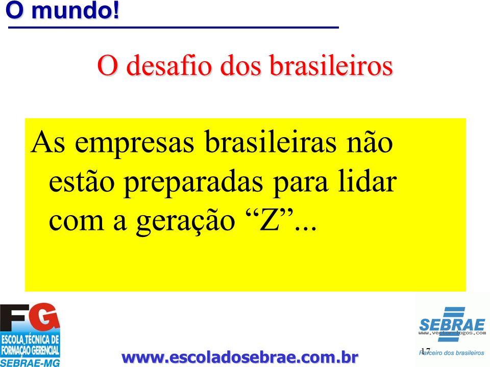 www.escoladosebrae.com.br 17 O mundo! O desafio dos brasileiros As empresas brasileiras não estão preparadas para lidar com a geração Z...