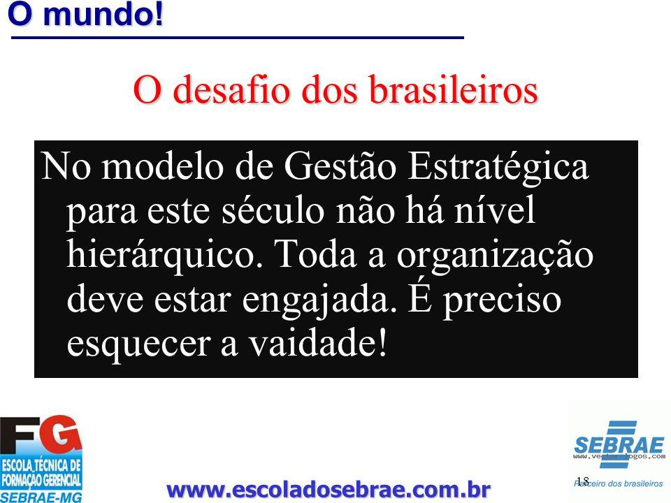 www.escoladosebrae.com.br 18 O mundo! O desafio dos brasileiros No modelo de Gestão Estratégica para este século não há nível hierárquico. Toda a orga