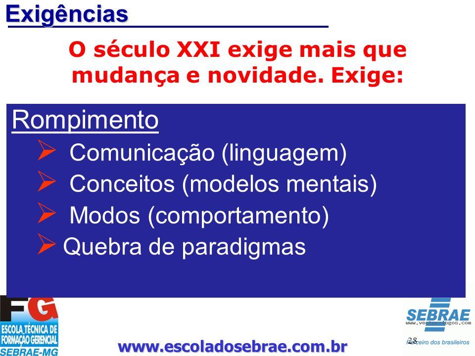www.escoladosebrae.com.br 28 Exigências O século XXI exige mais que mudança e novidade. Exige: Rompimento Comunicação (linguagem) Conceitos (modelos m