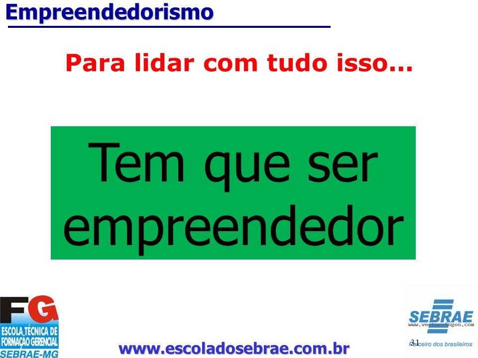 www.escoladosebrae.com.br 31 Empreendedorismo Para lidar com tudo isso... Tem que ser empreendedor