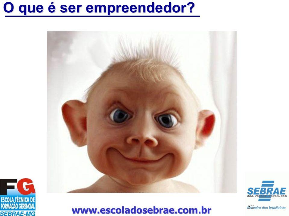 www.escoladosebrae.com.br 32 O que é ser empreendedor?