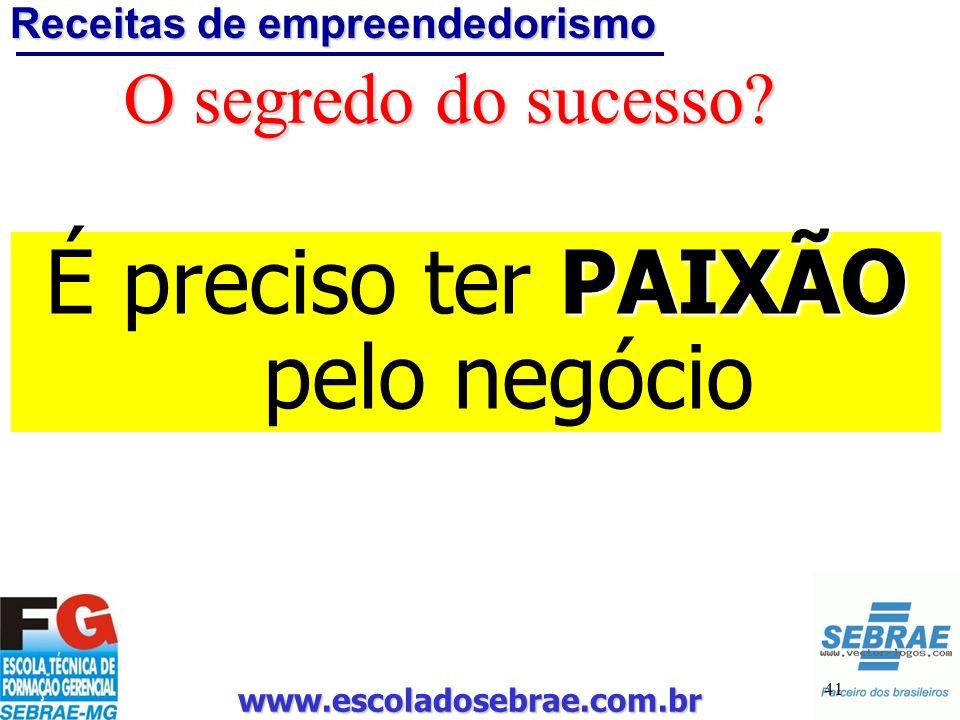 www.escoladosebrae.com.br 41 O segredo do sucesso? Receitas de empreendedorismo PAIXÃO É preciso ter PAIXÃO pelo negócio