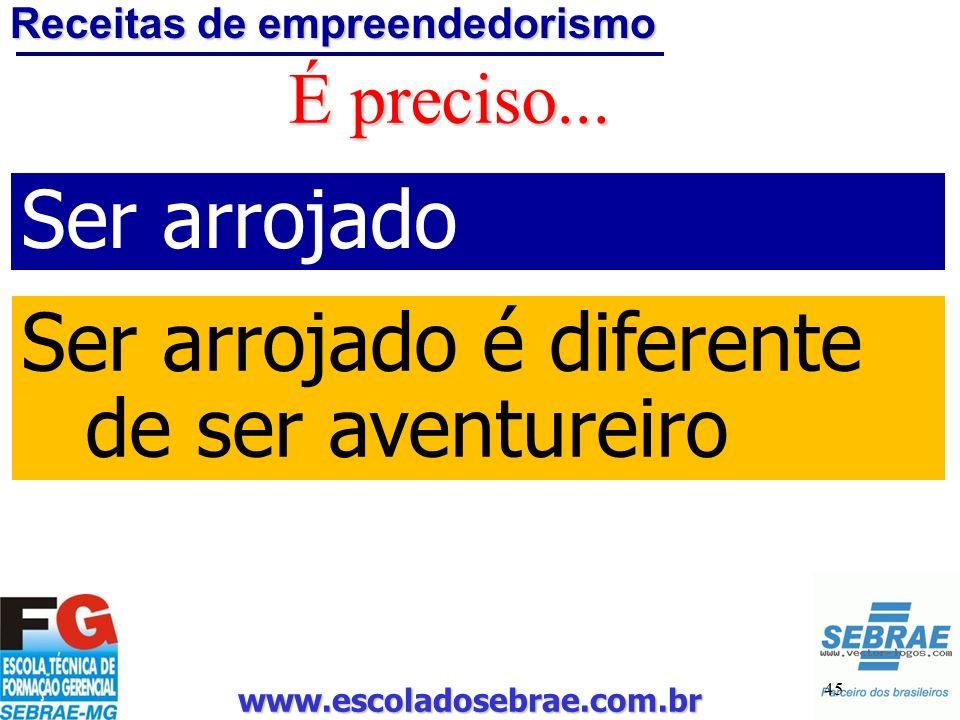 www.escoladosebrae.com.br 45 É preciso... Ser arrojado Ser arrojado é diferente de ser aventureiro Receitas de empreendedorismo
