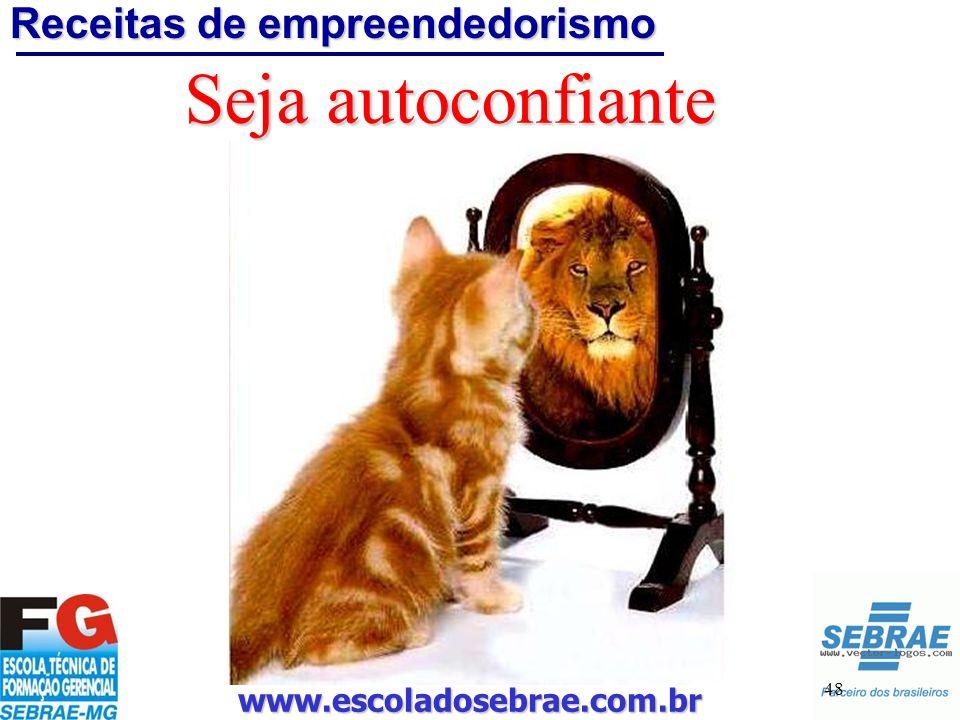 www.escoladosebrae.com.br 48 Seja autoconfiante Receitas de empreendedorismo