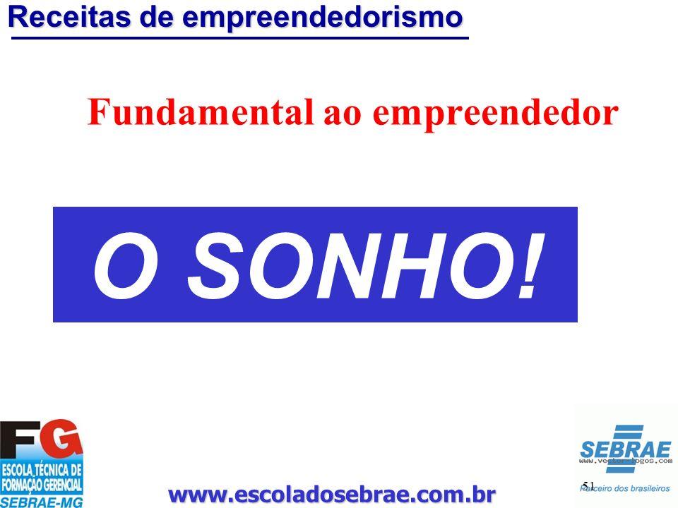 www.escoladosebrae.com.br 51 Receitas de empreendedorismo Fundamental ao empreendedor O SONHO!