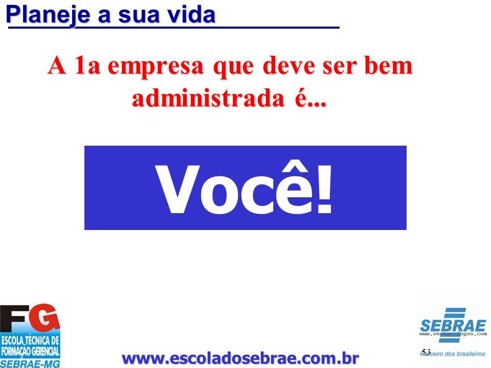 www.escoladosebrae.com.br 53 Planeje a sua vida A 1a empresa que deve ser bem administrada é... Você!